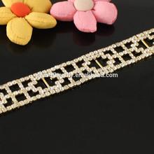 Sparkling Clear Silver Rhinestone Trim Chain Sew On Crystal Trimming Wedding Bridal Lady Hairbands R2119J