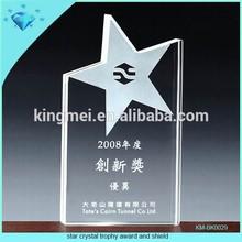 Star crystal trophy award and shield