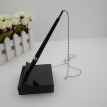 factory price desk pen with chain, table ballpoint pen, stand pen for hotel