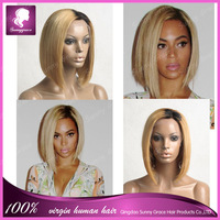 12inch #3/#613 two tone ombre color mono top celebrity beyonce short bob wigs for black women