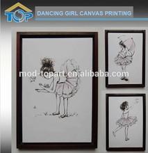 2015 modern dancing girl canvas picture wall art
