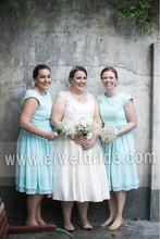Classic Sky Blue Jewel Bows Short Sleeve Chiffon Bridesmaid Dress