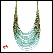 Beaded Chain Fashion Necklace with Lobster Clasp - Adj 16 to 18 in Long ornamental chain with Gold Colored Seed Beads