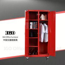 IGO knocked down metal 2 door bedroom cupboards design with wheel