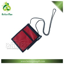 red custom made polyester badge holder with pen