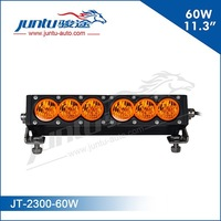 High intensity 10w chip 60w single row 12v 10inch led headlight bar with amber lens