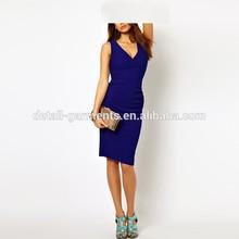 2014 high quality blue low V neck dirndl slim party girls one piece dress lastest