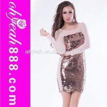 Charming design sexy ladies club wear see-through dress long sleeve