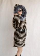 Wholesale 2015 Hot Sale women Europe Design Long Women Winter Hood Knitted Genuine real natural Mink Fur Coat