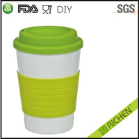 350ml Large Size BPA Free Plastic Coffee Cup From China With Silicone Grip
