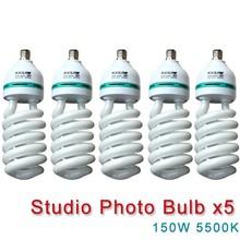NEW PHOTOGRAPHIC EQUIPMENT 5500K bulb for Energy Saving two lamp holder 150w 5pcs