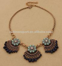 Vintage Navy Beads Tassel Flower Petals Fan Bib Statement Necklace
