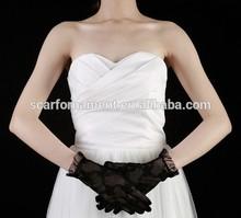 Newest Ladies Elegant Wrist length UV Cut Bows Pattern Wedding Full Finger Black Lace Gloves Sunscreen Driving Gloves In Summer