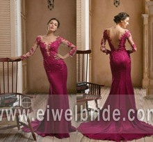 Amazing back see through appliqued long sleeve mermaid sexy long sleeve evening dress