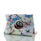 pu leather smart cover 360 degree rotating case peach blossom pattern for ipad air 2 air2 / ipad 6