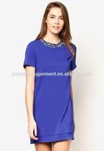 2014 Wholesale Cheap women sequins Collar Satin shift mini dress China Supplier