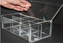 6 Compartments Popular Multi-fonction Clear Acrylic Compartment Storage Box Manufacturer