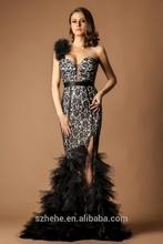 W329 Fashionable black lace cut mermaid evening dresses one shoulder
