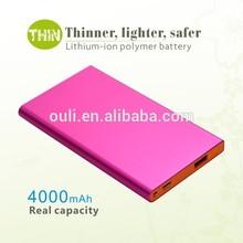 Aluminum case ultra thin power bank Manufacturers 4000mAh for iPhone/iPad/iPod/Galaxy Tab