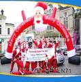 Bon marché en plein air rouge décoratifs de noël arc/santa clause de noël gonflable arc pour la vente