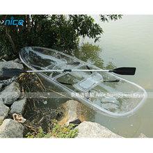 Newest plastic fish canoe transparent kayak/color recreational play kayak/travel kayak paddle