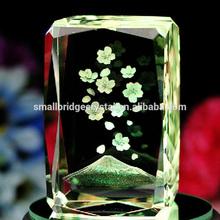 Wholesale K9 Mount Fuji Sukula Flowers 3d Laser Crystal Block