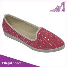 Guangzhou rhinestone jewelry shoe,flat canvas shoe,girls casual shoe