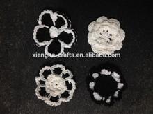 Black & White Antique Fabric Crochet Flower Assortment