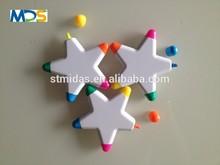 Star highlighter pen,plastic highlighter color marker pen in star shape