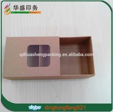 New style real factory cheap custom kraft paper slide open box wit window