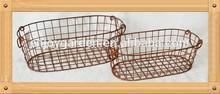 S/2 Metal storage basket with folding handle
