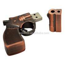 2015 novelty copper revolver shape mini usb flash drives stick bulk items