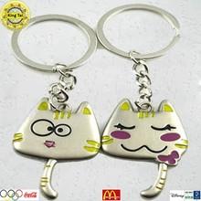 Cute fashion lover keychain metal cat design keychain