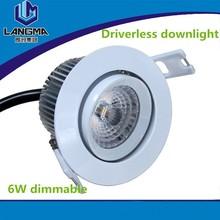 driverless samsung 6w mini low power 220V new cob led downlight