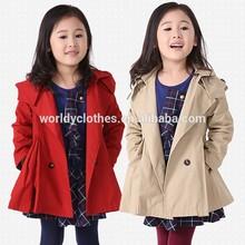2014 Winter Girls coat New long sleeve double button wind coat