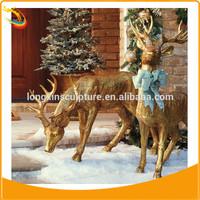 Life size brass deer statue Christmas deer statue garden deer statue