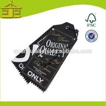 2014hot selling UV printed black card hang tag for hats/socks/shoes in China hang tag suplier