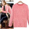 Nouvelle mode des femmes 14265 2014 automne hiver manches longues o- cou, mohair femmes pull chandail tricoté