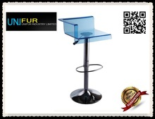 Modern height bar chair,square seat gas lift arcylic bar stool for club restaurant