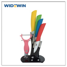"""Home Kitchen Dining Bar Ceramic Knife and Accessories Set Paring Fruit Utility Chef 3"""" 4"""" 5"""" 6"""" inch with Peeler Acrylic Holder"""