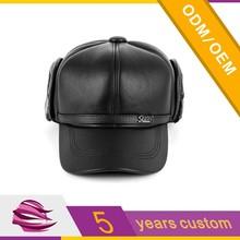 Custom black winter cap with earflaps for men winter baseball cap