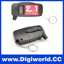 Best Mini Smart LCD Display Keychain 2 in 1 Digital Wheel Air Pressure Depth Tyre Gauge