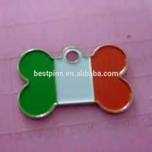 Italy Flag Design metal pet tag heart bone circular shape dog tag