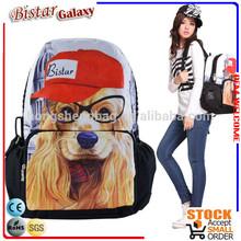 BBP106 Super Large Zipper Cute dog pattern backpack for high school girls