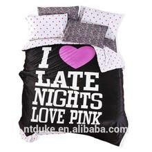 Vivid Pink Color Print 100% Velvet Bedding Set Bedding Line Bedding Sheet