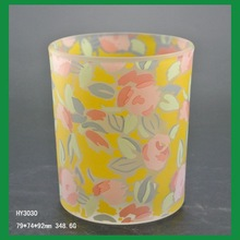 fancy frosted tea candle holder wholesale glass candle holder with decorating firing logo