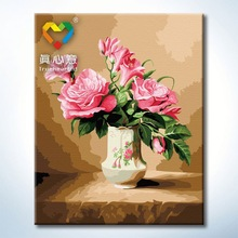 Truehearted pink rose flower oil painting oil painting pictures for beginners