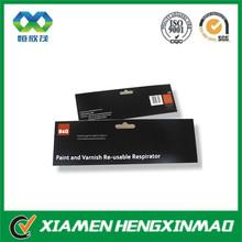 Black glossy hang tab with euro hole /adhesive hang tab in high quality