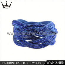 Resin diamond wrap snap button bracelet