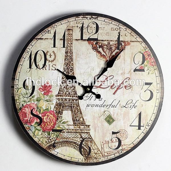 복고풍의 빈티지 파리 에펠 타워 분홍색 꽃 홈 장식 벽 시계 나무 35cm